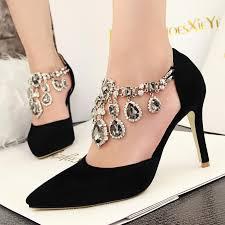 women pumps ladies pointed toe high heels fashion buckle