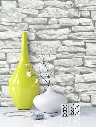 newroom papiertapete steintapete weiß grau steintapete ziegelstein backstein mauerwerk klinker stein tapete steinoptik wohnzimmer tapete steinoptik