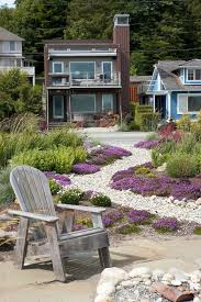 Coastal Landscape Design Beach Style With Dry River Patio Furniture Purple Flowers