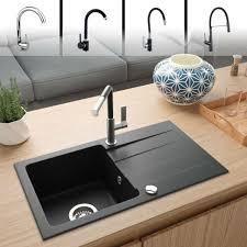 rein schwarz lindbergh granit spüle meg44 einbauspüle küchenspüle spülbecken