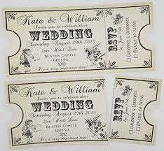 Ticket Style Shabby Chic Alice In Wonderland Wedding Invitations Birthday Party Christening Baby Shower Black Cream Amazoncouk Kitchen Home