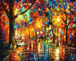 COLORFUL NIGHT PALETTE KNIFE Oil Painting On Canvas By Leonid Afremov