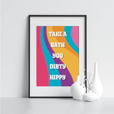 take a bath hippie badezimmer wand kunst