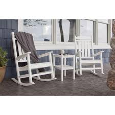 POLYWOOD Presidential White 3-Piece Patio Rocker Set-PWS138-1-WH ... Hanover Outdoor Orleans 5piece Porch Rocker Set With Cherry Red Retro Patio 3 Pc Metal Rocking Chair Tortuga Portside Plantation Dark Roast 3piece Wicker White Plastic Chairs Cr Generation The Classic All Weather Bayview Magnolia Art Epicenters Austin Paint Darrow Polywood Jefferson Pwrockerset3 Fniture 3pc Lazboy Avery Piece Bistro In Blue Kmart