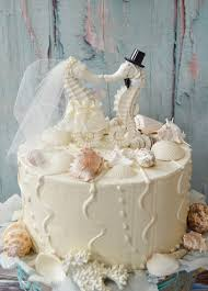 Seahorse Wedding Cake Topper Ivory Beach Theme Destination Bride And Groom Kissing Nautical