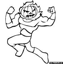 Flaming Pumpkin Online Coloring Page