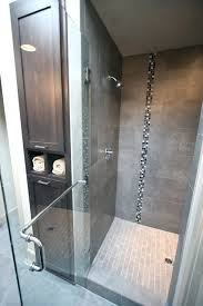 master bath tiled shower linen cabinet