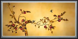Wall Art Designs Oriental Birds On Plum Tree Canvas Metal