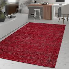 wohnzimmer teppich einfarbig kurzflor meliertes muster modern in rot grau größe 120x170 cm
