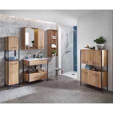 tolle badezimmer einrichtung im industry style in holz