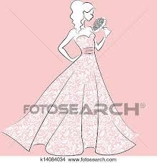 Clipart bride in lace wedding dress Fotosearch Search Clip Art Illustration Murals