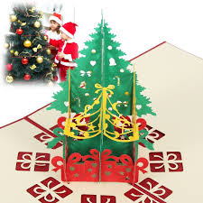 Handmade 3D Greeting Christmas Tree Card Inviation Card Pop Up Card Postcards Birthday Festival