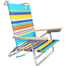 Rio Backpack Chair Aluminum by Rio 5 Position Layflat Beach Chair Sand Bar Stripe Low Seat