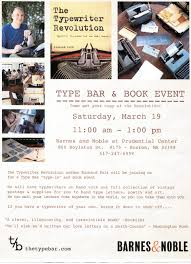 Typewriter Talk » Boston, MA Type Bar Type-In 3/19/16. Meet Jenn Mcallister 082915 The Typewriter Revolution Blog Upcoming Events In Ccinnati And Crossing At Smithfield Ws Development Online Bookstore Books Nook Ebooks Music Movies Toys Emerson College Bookstores 114 Boylston St Back Barnes Noble Cafe Boston Bay Restaurant Natalya Wwe Mister Science Faircom Book Release Video Former Umpire Bob Reflects On His Career Lady The Window Event Sept 21 I Fucking Love Ifnluvbos Beat Heat
