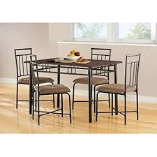 New Luxury Mainstays 5 Piece Top Wood And Metal Dining Room Tables Chairs Set