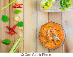 national cuisine of foods that are spicy and sour taste of s tom yum stock