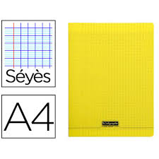 Cahier Pique A4 96 Pages Seyes Couverture Polypropylene Jaune