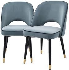 casa padrino luxus esszimmerstuhl set blau schwarz messing 53 x 56 x h 84 cm esszimmerstühle mit edlem samtstoff esszimmer möbel