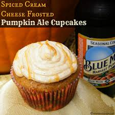 Harvest Moon Pumpkin Ale by Spiced Cream Cheese Frosted Pumpkin Ale Cupcakes