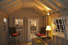 small brown interor ideas for shed homes that has wooden floor can