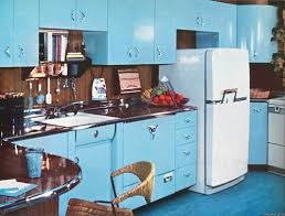 Mid Century Kitchen With Turquoise Cabinetry