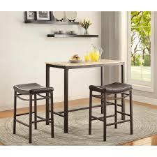 Linon Home Decor Betty 3-Piece Rustic Brown Bar Table Set ...