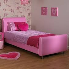 A & I Beds Azure Girls Pink 3Ft Single Faux Leather Bed Pink