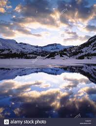 USA California Sierra Nevada Mountains Snow Covered Reflecting In Ellery Lake At Sunset Large Format Sizes Available