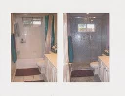 bath re do tub shower combo to shower only glass tiles