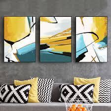 abstrakte blau gelb leinwand gemälde druck gold folie poster