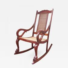 Early 19th Century Caribbean Regency Mahogany And Cane Rocking Chair