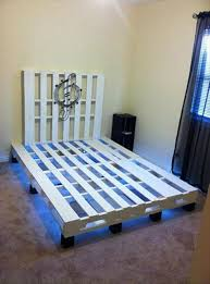 How To Make A Platform Bed From Wooden Pallets by Pallet Bed With Under Lights 101 Pallets
