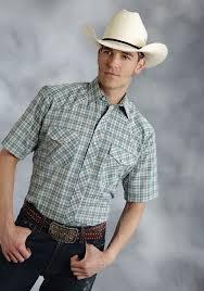 roper mens tall blue green multi plaid short sleeve snap cowboy shirt