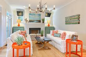 Brown And Teal Living Room by Stylish Living Room In Orange Decor House Decor