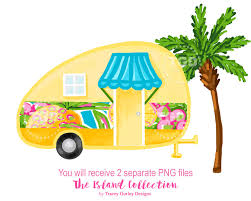 Glamping Vintage Camper Preppy Clip Art Clipart Tropical