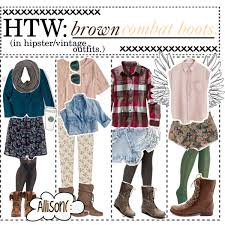 HTW Brown Combat Boots In Hipster Vintage Outfits