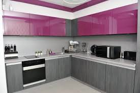 cool wonderful purple kitchen design with beige granite countertop