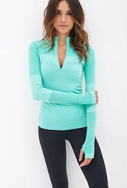forever 21 fitted half zip pullover jacket in blue lyst