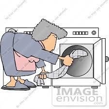 17476 Woman Putting Clothes In A Dryer Clipart By DJArt