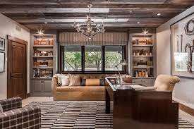 Country Home Office With Plank Ceiling