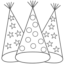 Happy Birthday Hats Coloring Sheets New Year Party Hat And Page