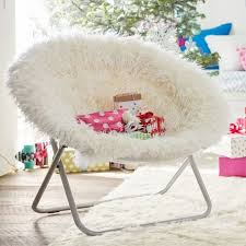 a faux fur shag saucer chair on the hunt