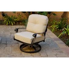 Cast Aluminum Swivel Rocker Club Chairs With Cushions, Set Of 4