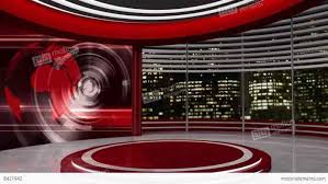Broadcast Loopable News Studio Background Red Tv Green Screen Set Stock Video Footage Videoblocks