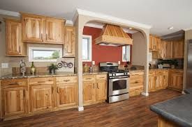 Paint Colors For Cabinets In Kitchen by Honey Spice Hickory Cupboards Using Orange Paint Color With Wood