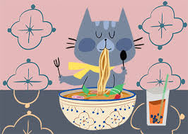 Cat Hungry Noodles Boba Lunchtime Tracey Laguerre