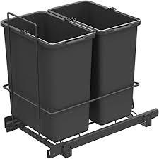 lm 62 2 einbau mülleimer ausziehbar mit 2x10l abfalleimer korbauszug anthrazit 25 8x41 4x39 5 cm duo mülltrennsystem für die küche unterschrank