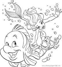 The Little Mermaid Color Page Disney Coloring Pages Plate Sheet