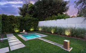 Pacific Sod Modern Landscape And Fire Pit Fireplace Fountain Grass Hardscape Hedge Lawn Lighting