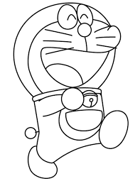 Happy Doraemon Marching Coloring Page